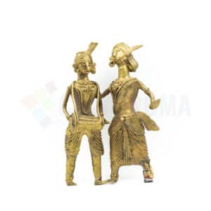 Dhokra Home Decor - Dancing Tribal family with Madol