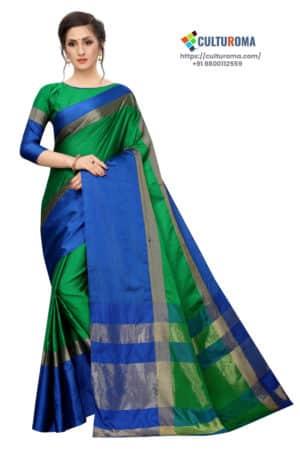 Cotton Silk - Silk Saree in Green Blue
