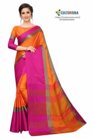 Cotton Silk - Saree in Orange Pink