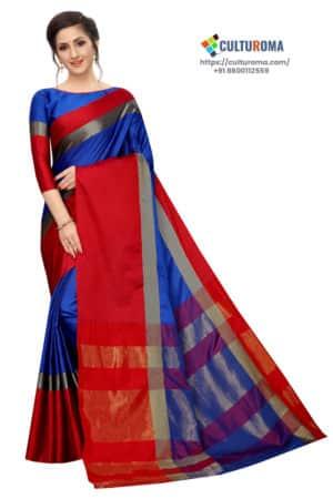 Cotton Silk - Saree in Red Blue