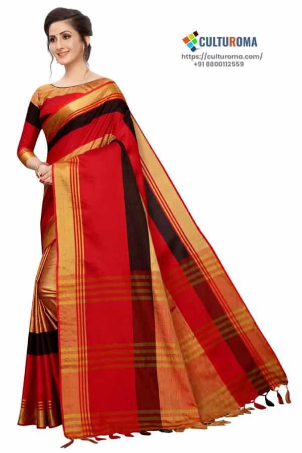 Cotton Silk Saree Zari Border Saree