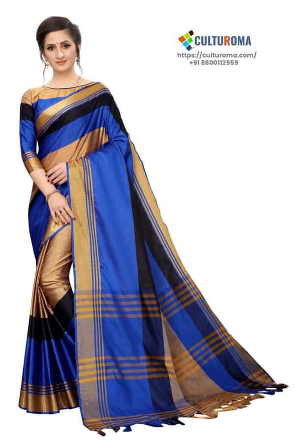 Cotton Silk - Saree in Blue Golden