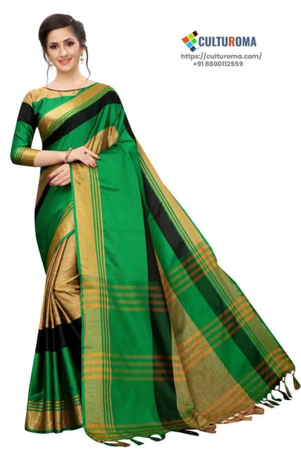 Cotton Silk - Saree in Green Golden