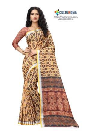 Linen Cotton - Printed Saree in Yellow Border