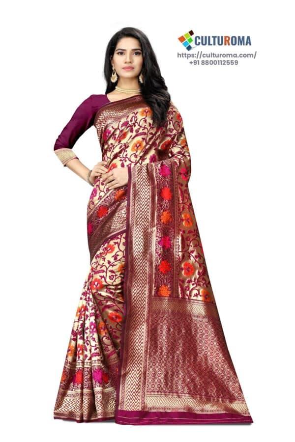 JACQUARD SILK - Saree With rich Pallu in Maroon