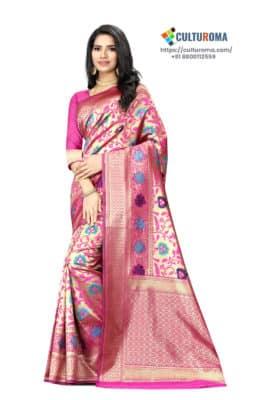 JACQUARD SILK - Saree With rich Pallu in Pink