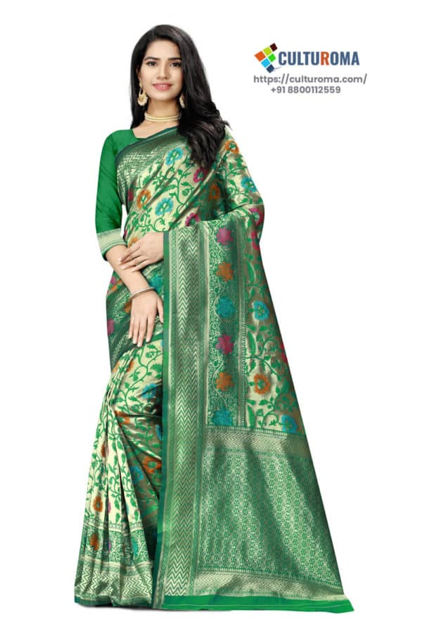 JACQUARD SILK - Saree With rich Pallu in Green