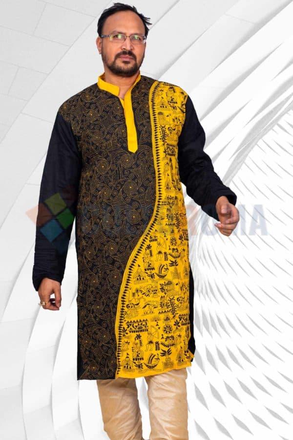 Cotton - Kantha Stitch Kurta Black and Yellow