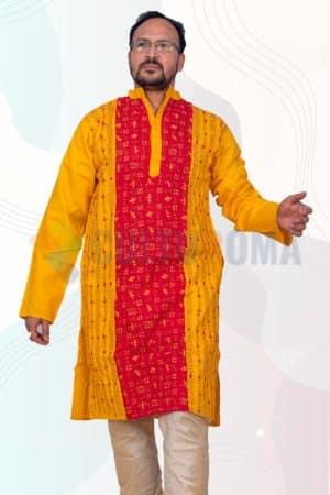 Cotton-Kantha Stich Kurta Pink and Yellow