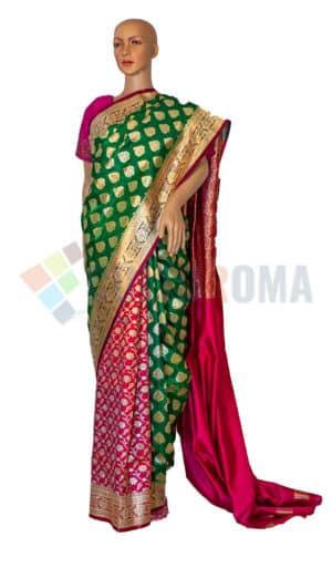 Banarasi Silk - Green and Pink Half Half
