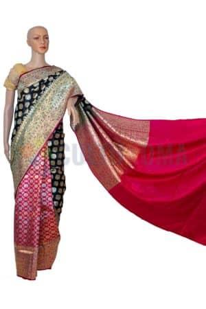 Banarasi Silk - Red and Black Half Half