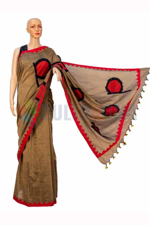 Cotton Handloom - Ektara aplic work saree in Cider