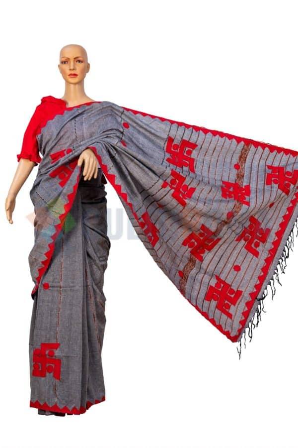 Cotton Handloom - Swastik aplic work saree in Grey