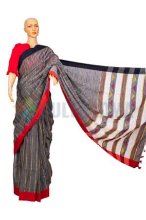 Cotton Handloom - Grey with Red border