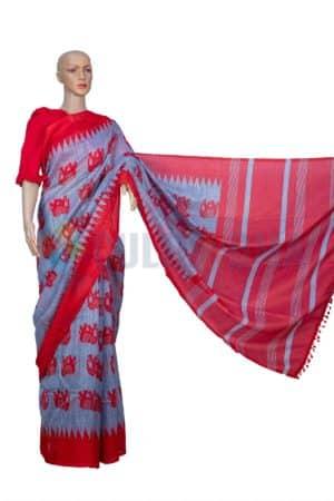 Linen Print - Soft Grey & Red
