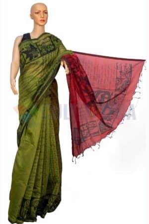 Cotton - Printed Saree Green Red