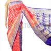 Banarasi Silk - Orange and Blue Half Half