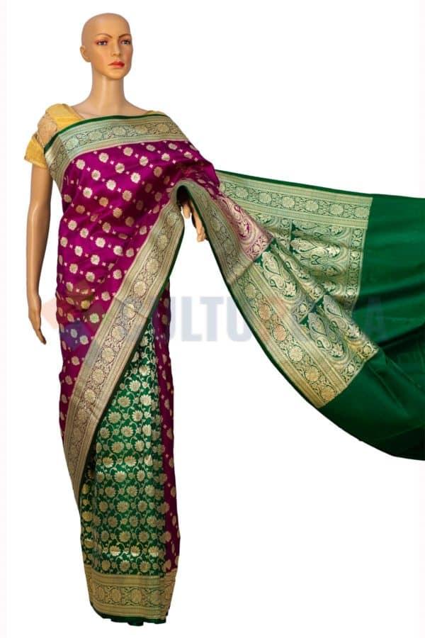 Banarasi Silk - Banarasi Silk Green and Maroon Half Half