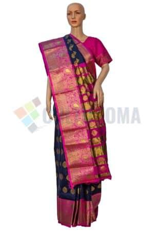 Rapier Silk - Blue & Pink saree