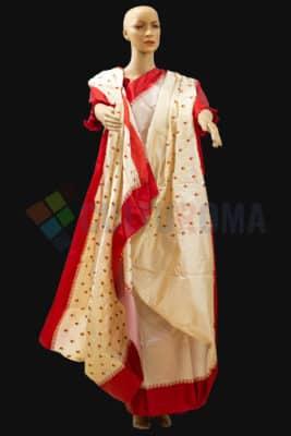 Silk - White & Red saree