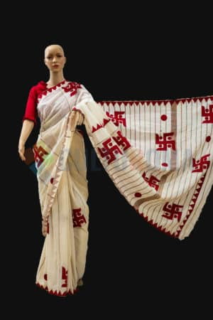 Cotton Handloom – White & Red Puja Saree