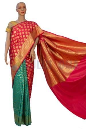 Opera Silk - Pink & Green Saree