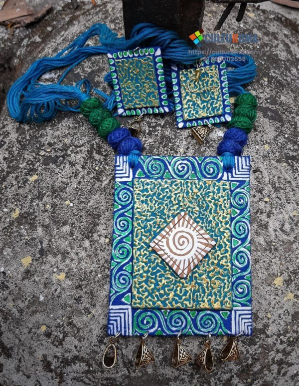 Hand Painted and Written Fabric Jewellery -Style 12