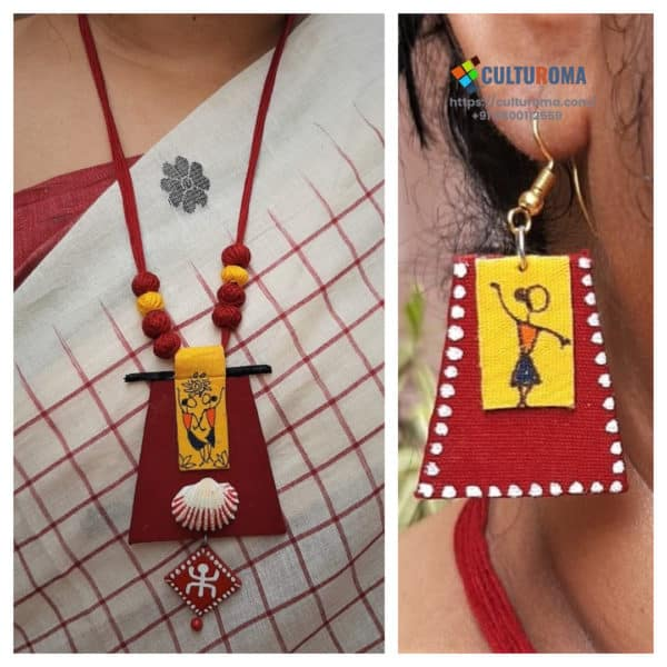 Hand Painted Fabric Jewellery -Style 15