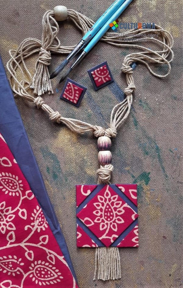 Hand Painted Fabric Jewellery -Style 19