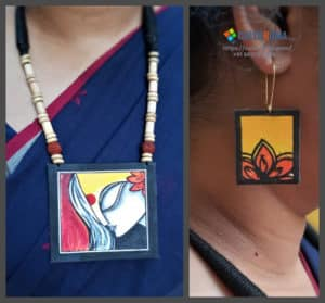 Hand Painted Fabric Jewellery -Style 27