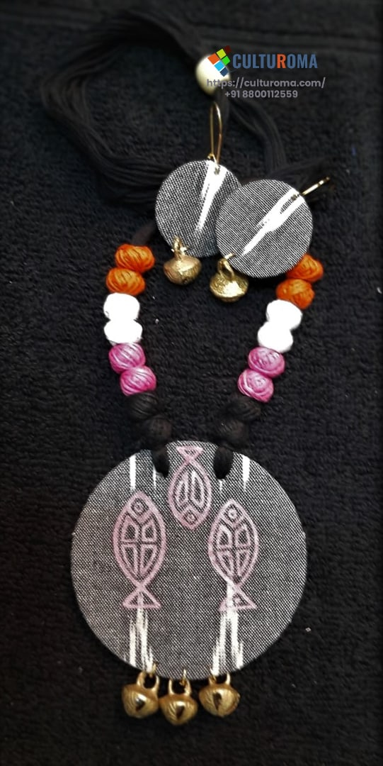 Hand Painted Fabric Jewellery -Style 8