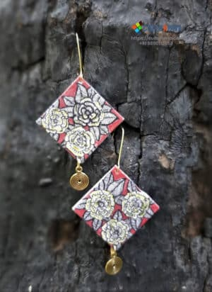 Hand painted Fabric Earrings - Style 3
