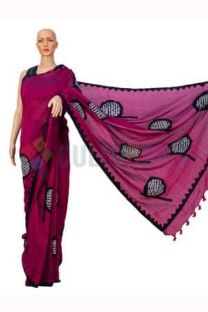 Cotton Handloom - Ektara aplic work sharee in Burgundy