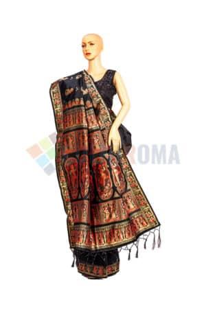 Baluchari - Saree With Exquisite design On Black 1