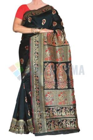 Baluchari - Saree With Exquisite design Pallu On Black 2
