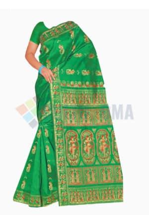 Baluchari - Saree With Exquisite design Pallu On Green