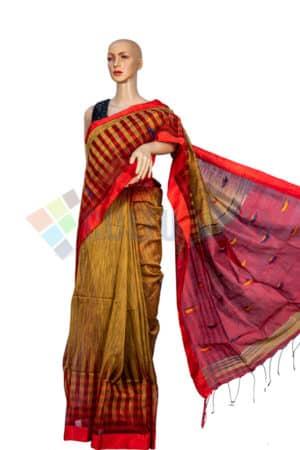 Kotki Cotton - Yellow Red saree