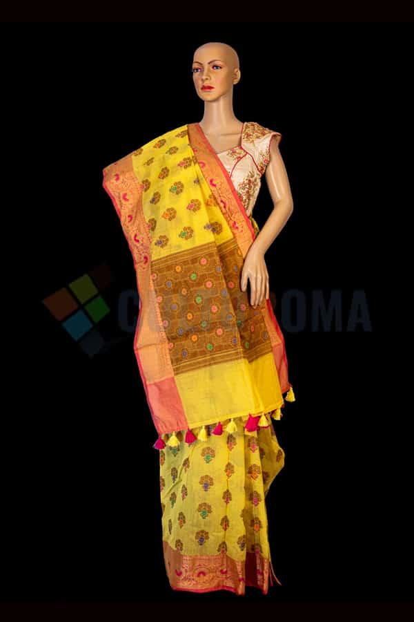 Banarasi Cotton - Handloom Yellow Saree