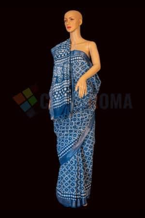 Linen Cotton - Blue saree