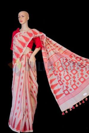 Handloom Cotton - White & Red