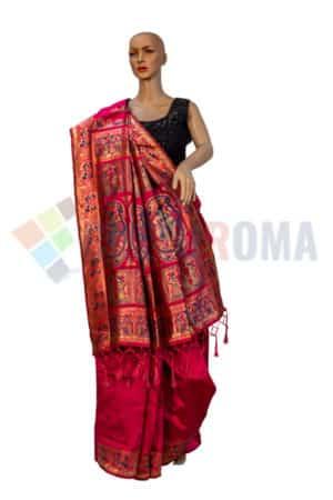 Baluchari - Saree With Exquisite design Pallu On Maroon