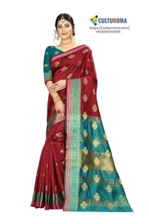 Banarasi Silk - Pure Banarasi Silk Contrast Pallu And Contrast Blouse in Maroon