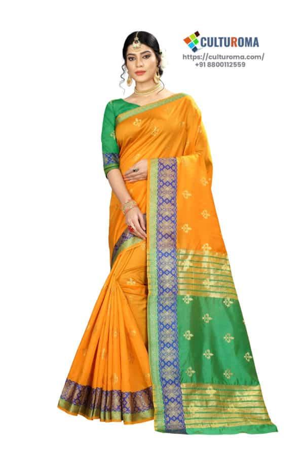 Banarasi Silk - Pure Banarasi Silk Contrast Pallu And Contrast Blouse in Yellow