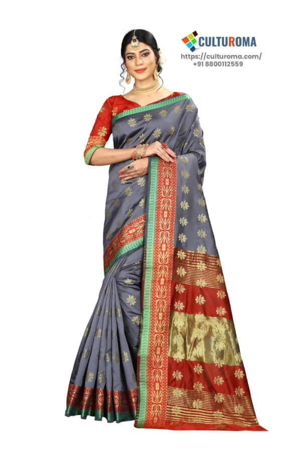 Banarasi Silk - Pure Banarasi Silk Contrast Pallu And Contrast Blouse in Grey