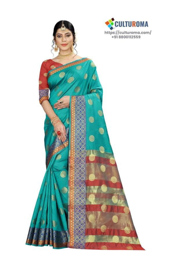 Banarasi Silk - Pure Banarasi Silk Contrast Pallu And Contrast Blouse in Teal