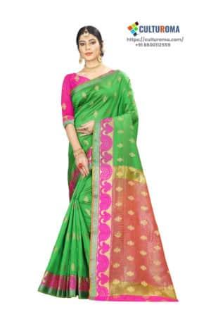 Banarasi Silk - Pure Banarasi Silk Contrast Pallu And Contrast Blouse in Green