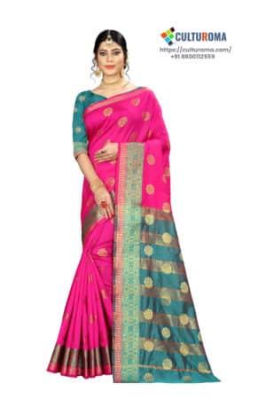 Banarasi Silk - Pure Banarasi Silk Contrast Pallu And Contrast Blouse in Pink