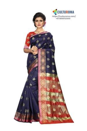 Banarasi Silk - Pure Banarasi Silk Contrast Pallu And Contrast Blouse in Navy Blue