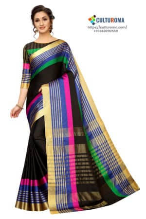 Poly Cotton - Pure Catonic Cotton Saree with Lining Pallu in Pink & Green