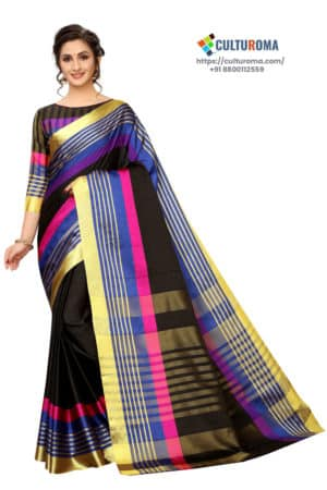 Poly Cotton - Pure Catonic Cotton Saree with Lining Pallu in Pink & Yellow